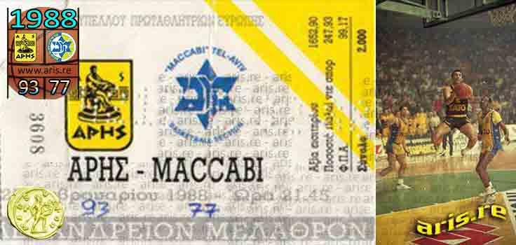 1988: Άρης - Μακάμπι 93-77, ολόκληρο το παιχνίδι